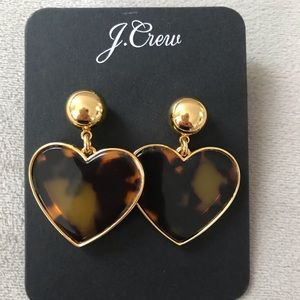 JCrew Tortoise Shell Heart Earrings